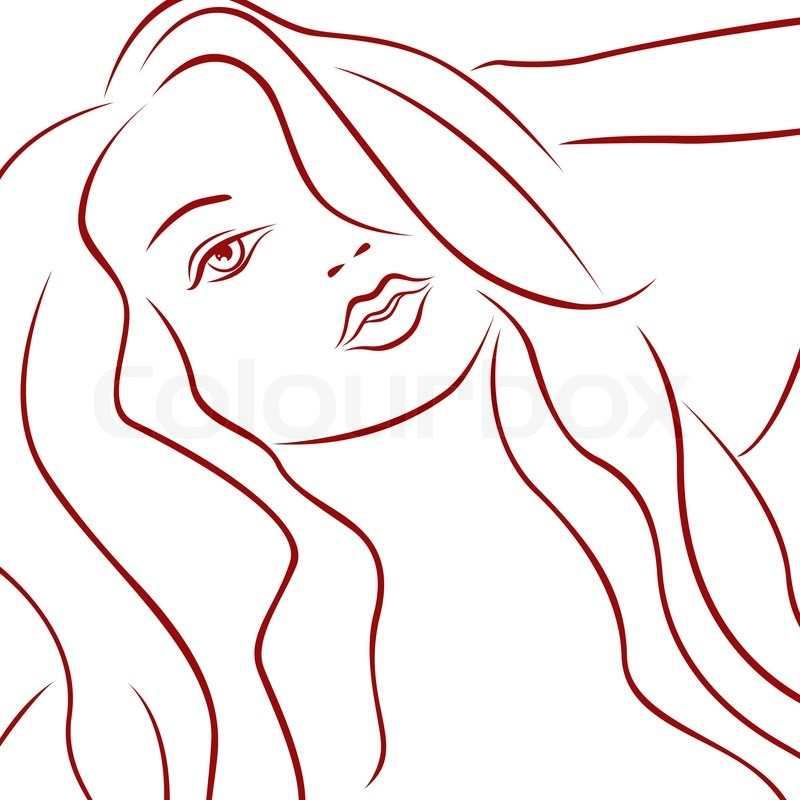 800x800 Sensual Female Red Laconic Heads Outline Over White, Hand Drawing