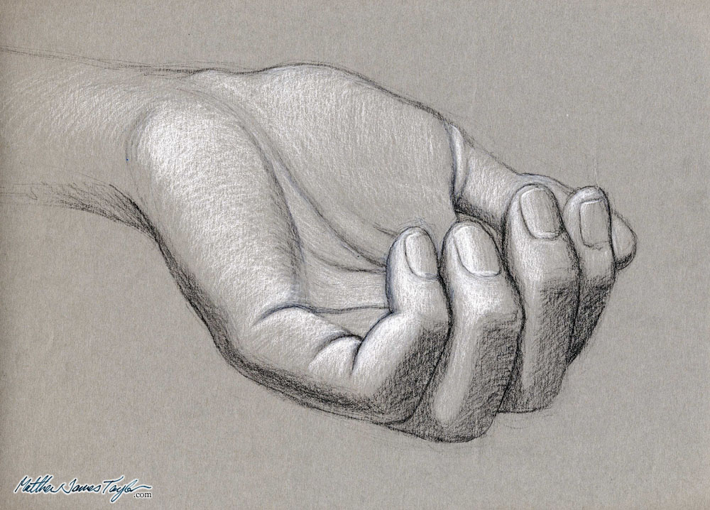 1000x718 Tonal Hand Study Black And White Charcoal Rendered Drawing