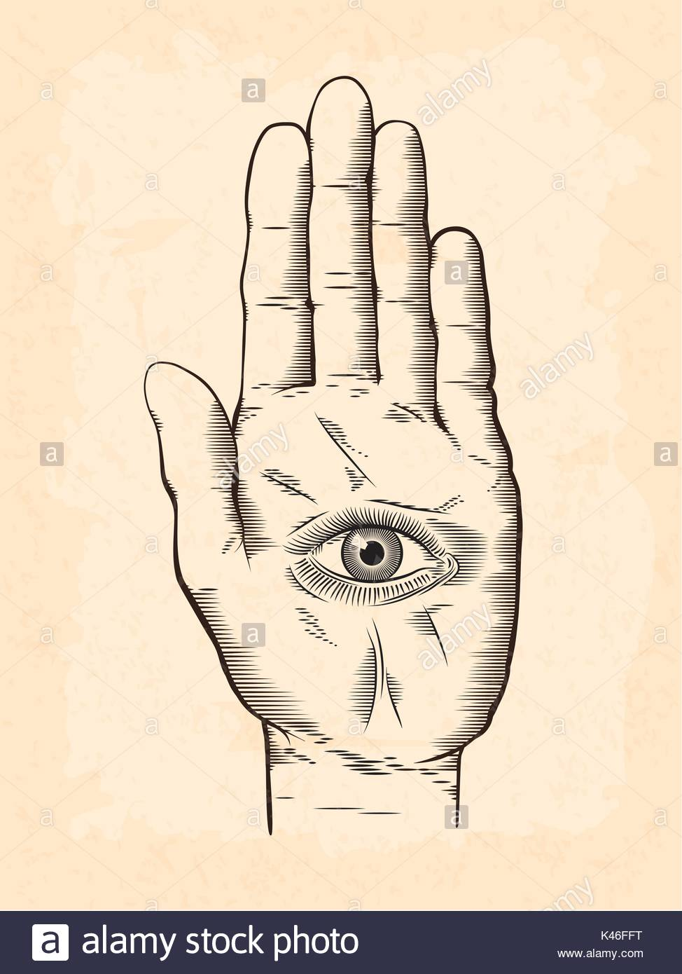 974x1390 Vector Illustration Of Mystic Hamsa All Seeing Eye In Hand Symbol