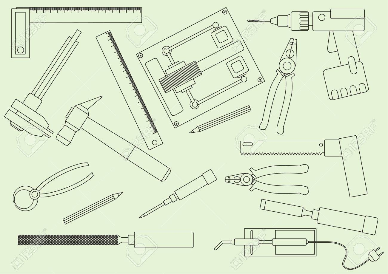 1300x919 A Set Of Hand Tools For Productive Work. Production On The Drawing
