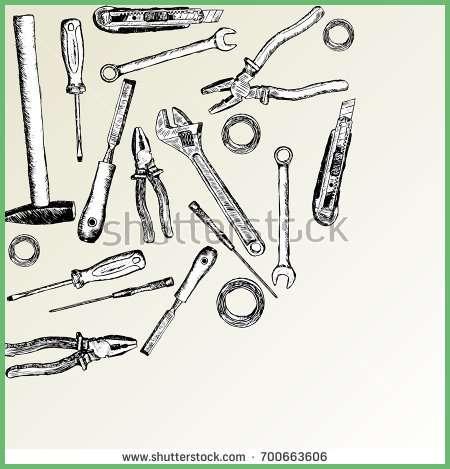 450x469 Beautiful Set Sketch Tools Repair Handpainted Hammer Stock Vector
