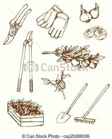 377x470 Gardening Tools Drawing Vintage Drawing Gardening Tools Garden