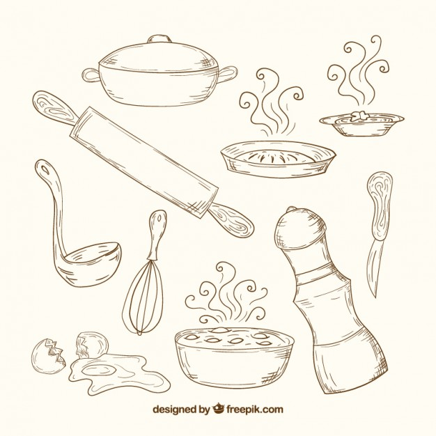 626x626 Hand Drawn Kitchen Tools In Retro Style Vector Free Download