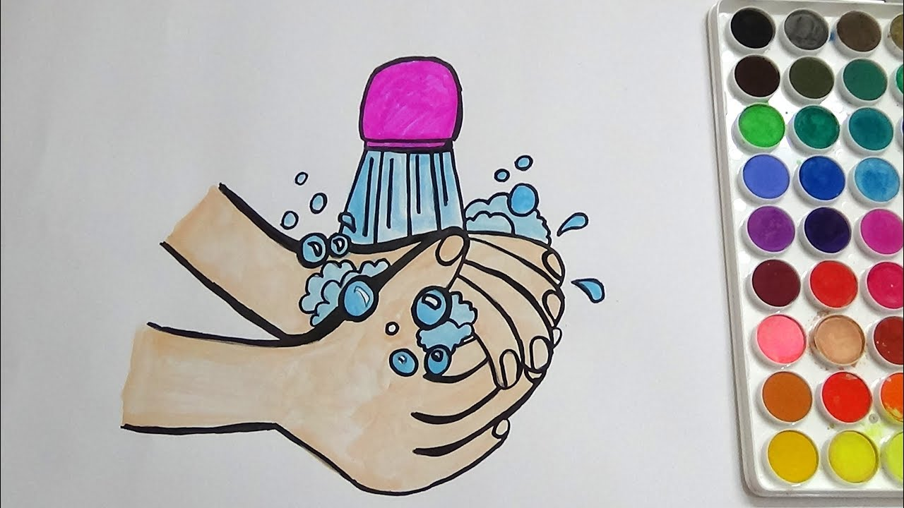 1280x720 Hand Wash Coloring Page For Kids