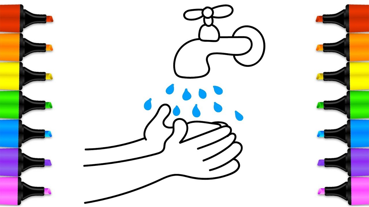 1280x720 How To Draw A Water Faucet Baby Wash Your Hands. Coloring Book
