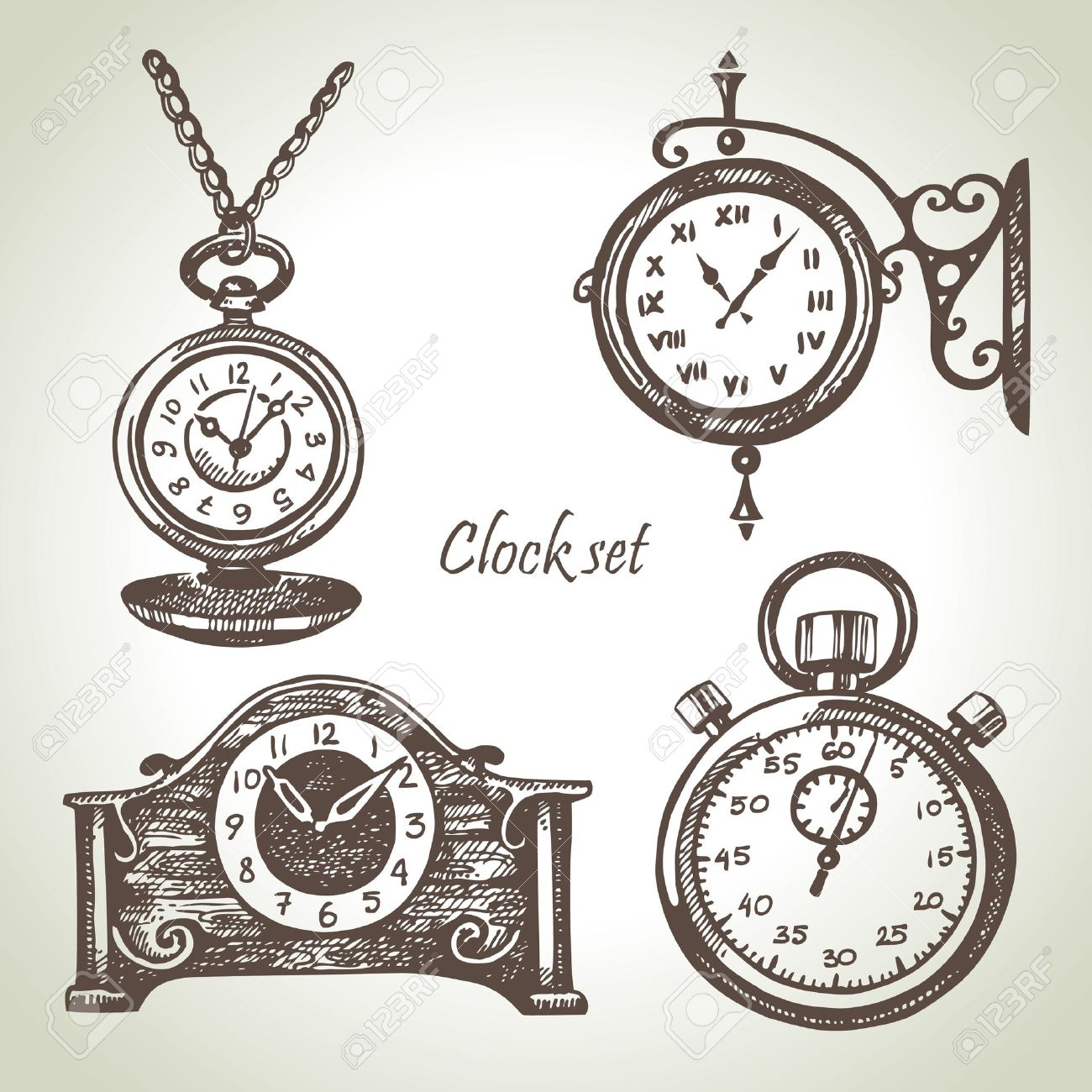 1300x1300 Hand Drawn Set Of Clocks And Watches Royalty Free Cliparts
