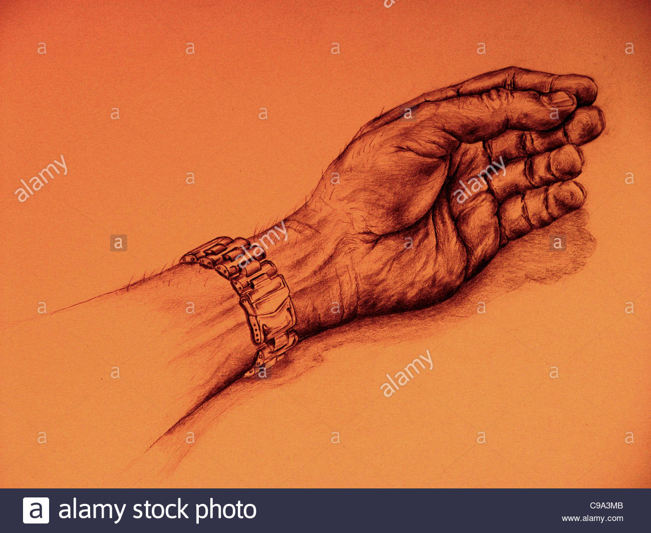 1300x1064 Hand Watch Drawing Finger Stock Photo 40175083