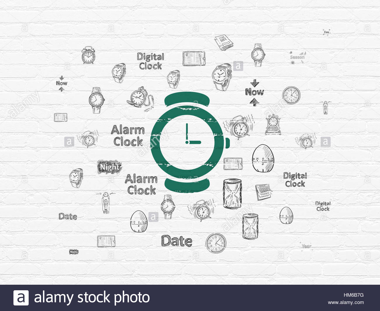 1300x1065 Time Concept Painted Green Hand Watch Icon On White Brick Wall
