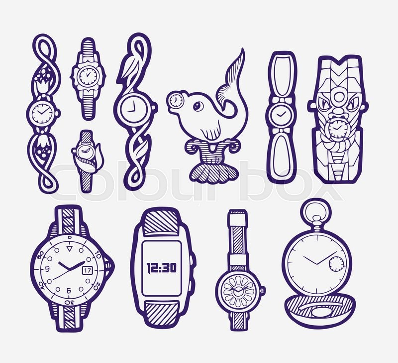 800x728 Watches Hand Drawing Icon. Sketch Style Of Variant Watches. Good
