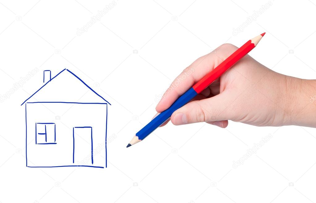 1023x658 Hand With Pencil Drawing House. Stock Photo Borysshevchuk
