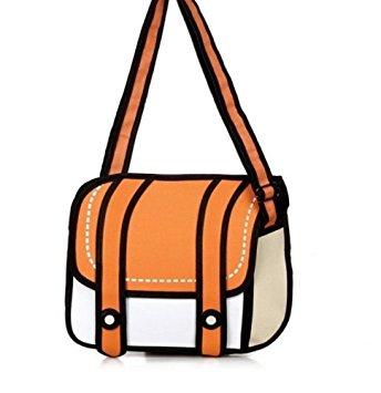 344x355 Unisex Cute Messenger Bag Comic Bag 2d Drawing 3d Jump