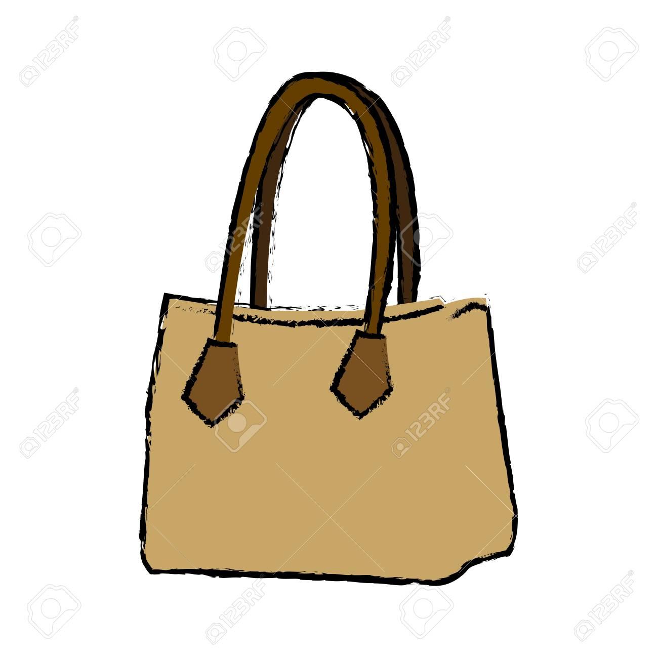 1300x1300 Drawing Handbag Elegant Fashion Female Vector Illustration Royalty