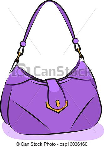 331x470 Vector. Women's Purple Handbag. Vector Illustration. Women'S