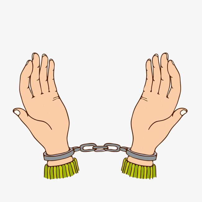 650x651 Hand Drawn And Handcuffed Hands, Handcuffs, Rule By Law, Limit Png