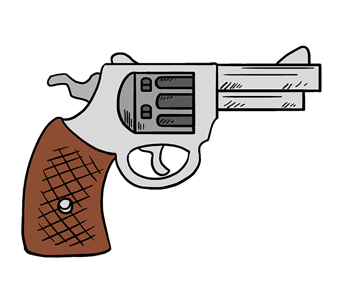 678x600 How To Draw A Cartoon Revolver In A Few Easy Steps Easy Drawing