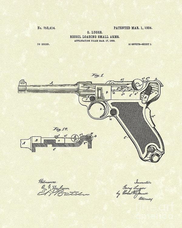 600x750 Luger Handgun 1904 Patent Art Poster By Prior Art Design
