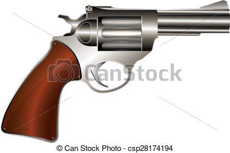 450x299 Vector Revolver. Revolver, Vector Drawing Over White Eps