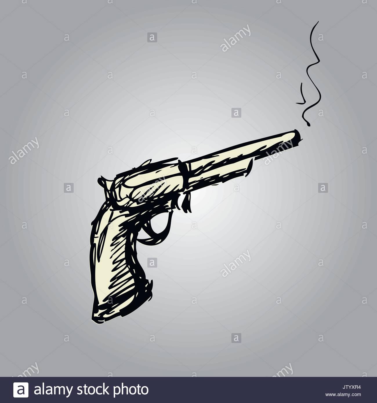 1300x1390 Handgun Or Old Revolver, Hand Drawing , Vector Illustration Stock