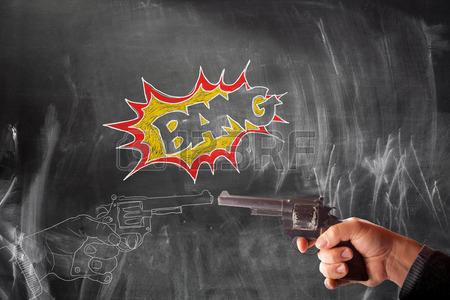 450x300 View Of Hand Drawing Of Handguns Vs Real Handgun On Blackboard