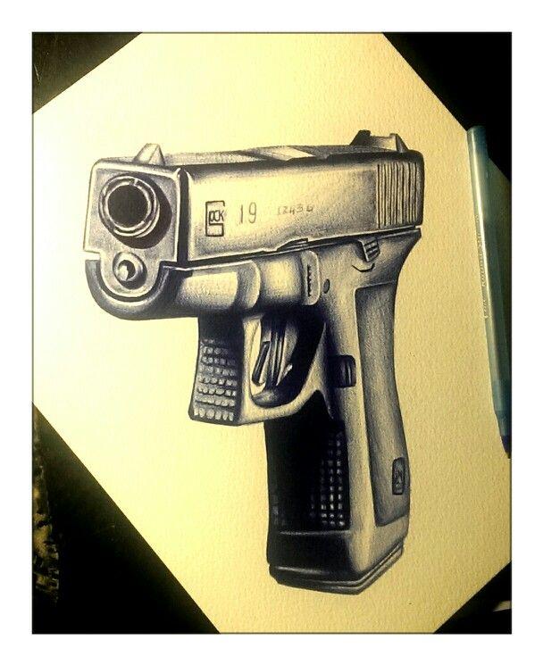 608x745 Pen Drawing Art Glock, Gun, Firearm, Guns,