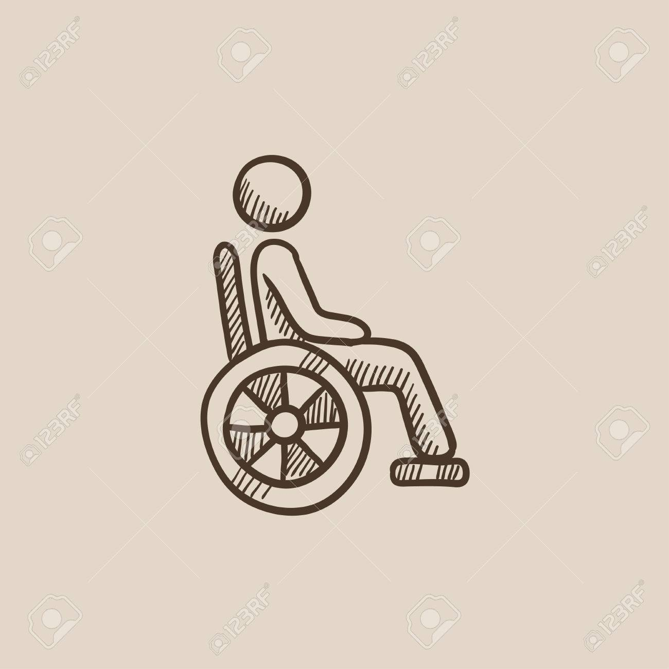 1300x1300 Disabled Person Sitting In The Wheelchair Sketch Icon For Web