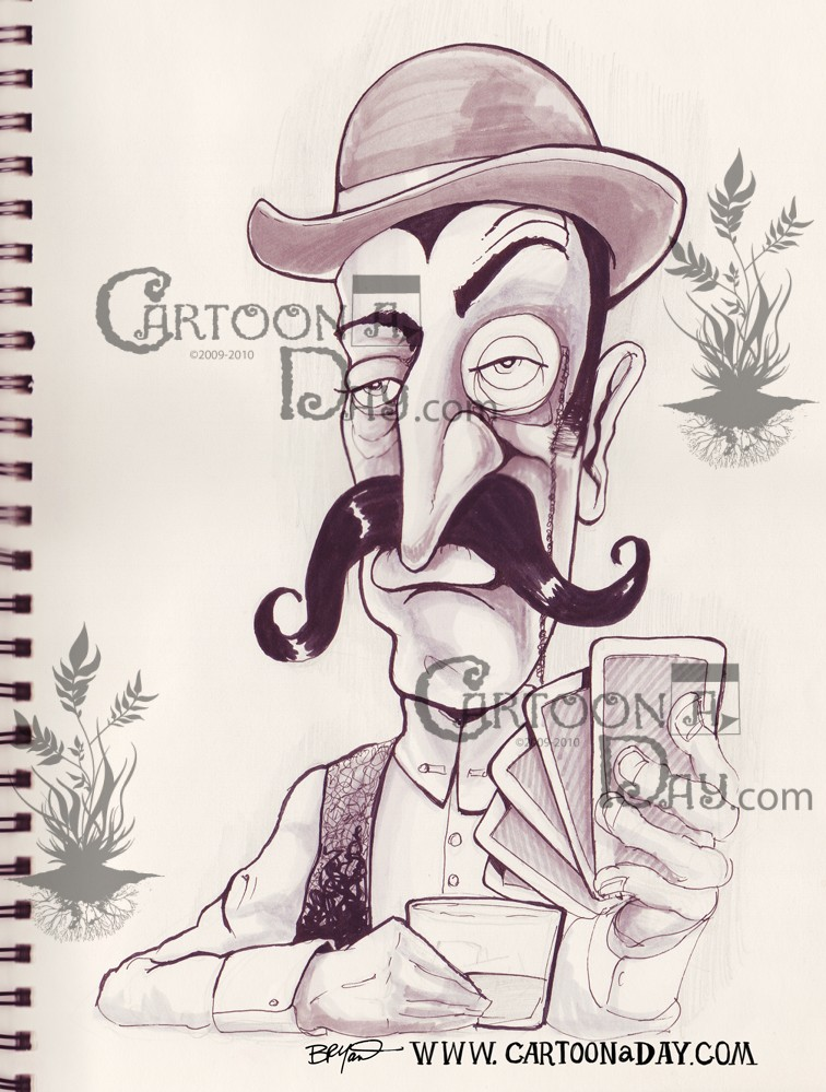 756x999 Handlebar Moustache Poker Player Sketchbook Cartoon