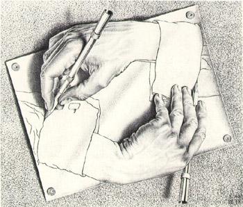 350x298 Drawing Hands By Escher