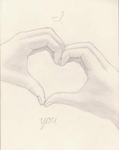 400x502 I Heart You Teen Charcoal About Heart, Hands, Pencil, I, Love