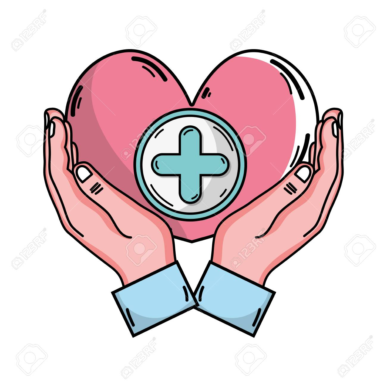 1300x1300 Drawing Of Hands Holding A Heart Shape With A Positive Or Cross