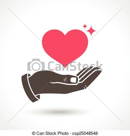 450x470 Hand Giving Love Symbol. Hand Holding Heart Shape, Vector Eps