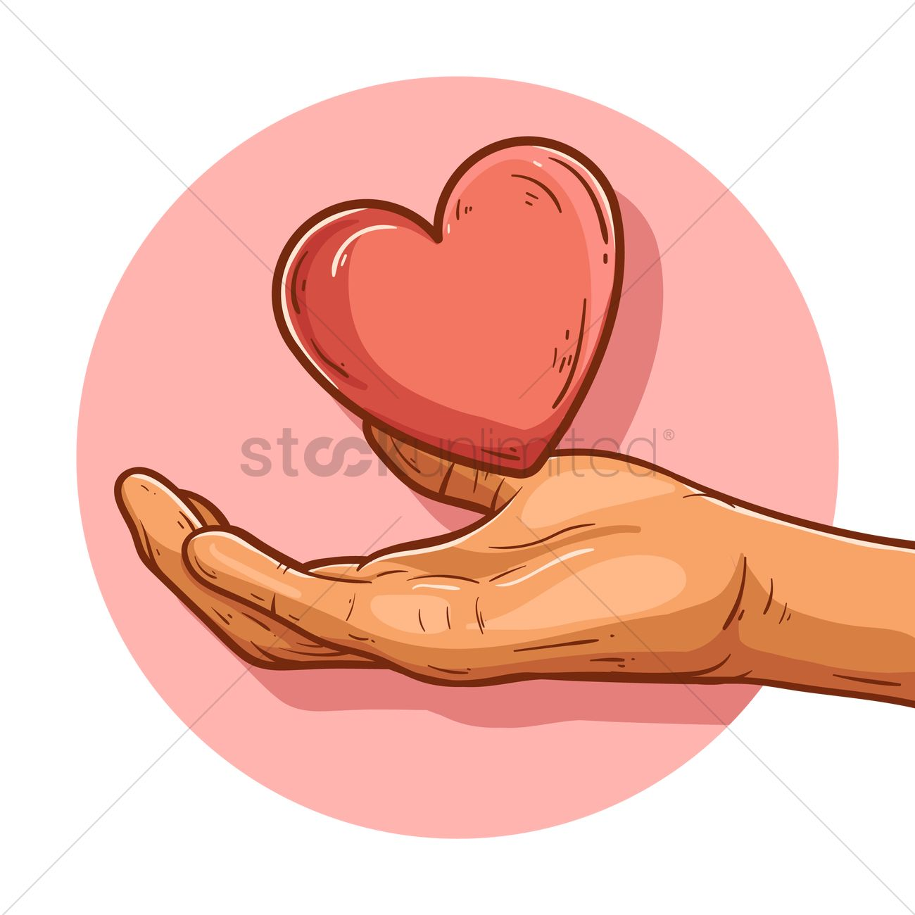 1300x1300 Hand Holding Out Heart Shaped Vector Image