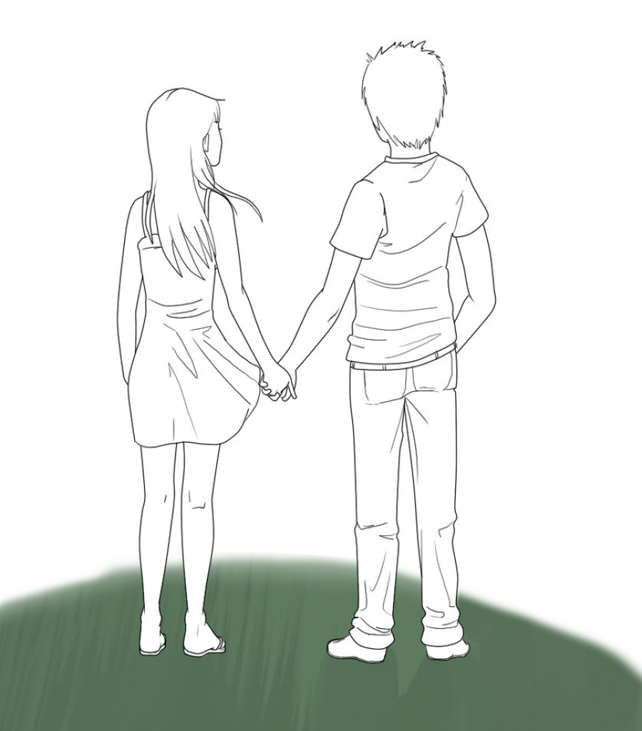 900x1024 Boy And Girl Holding Hands Anime Sketch Anime Couple Holding Hands