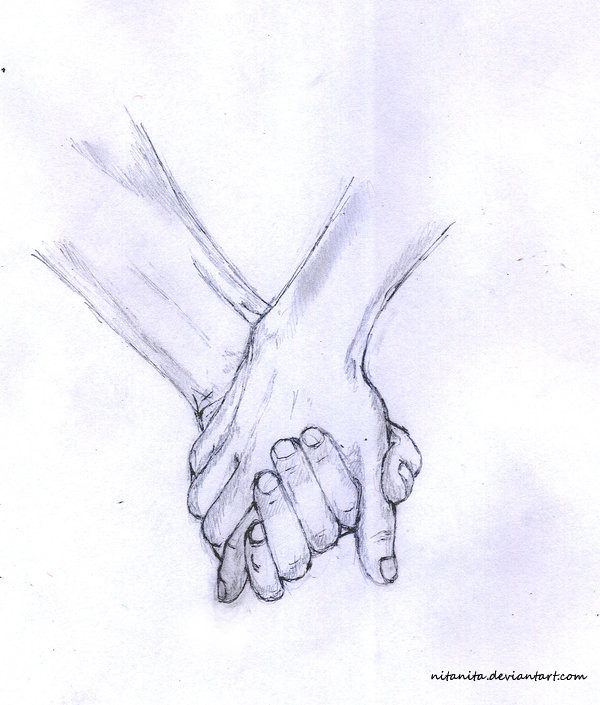 600x705 Holding Hands By Nitanita Drawing Holding Hands