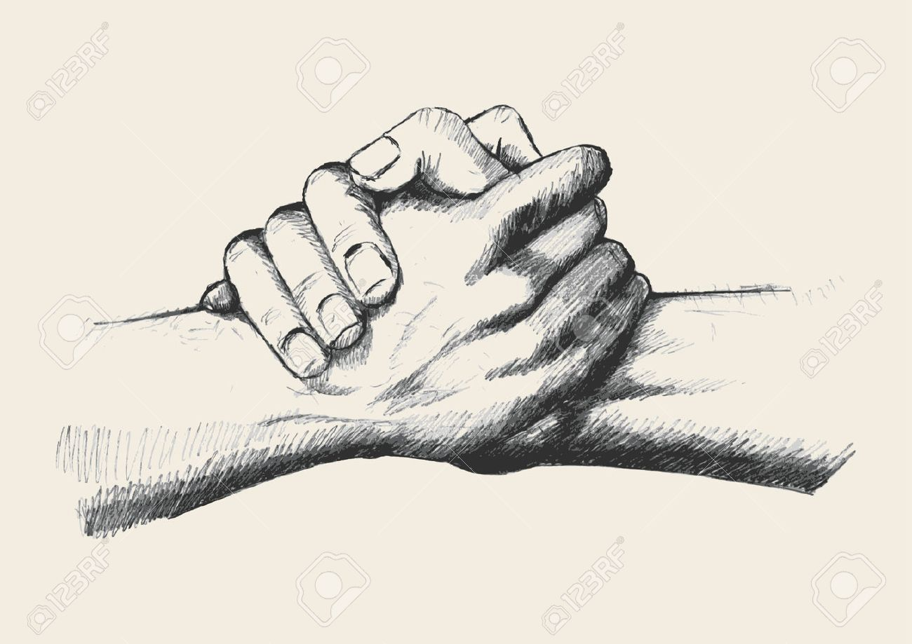 1300x919 Sketch Illustration Of Two Hands Holding Each Other Strongly