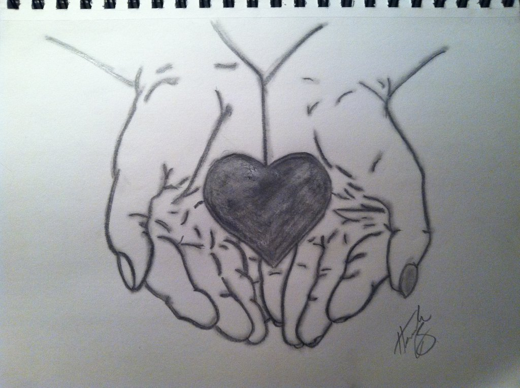 1024x765 How To Draw Hands Holding Rose Hand Holding Heart Drawing Hands