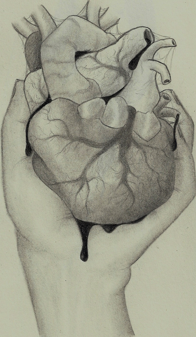 816x1397 Pencil Drawing Of Hand Holding Heart Drawn Broken Heart Hand