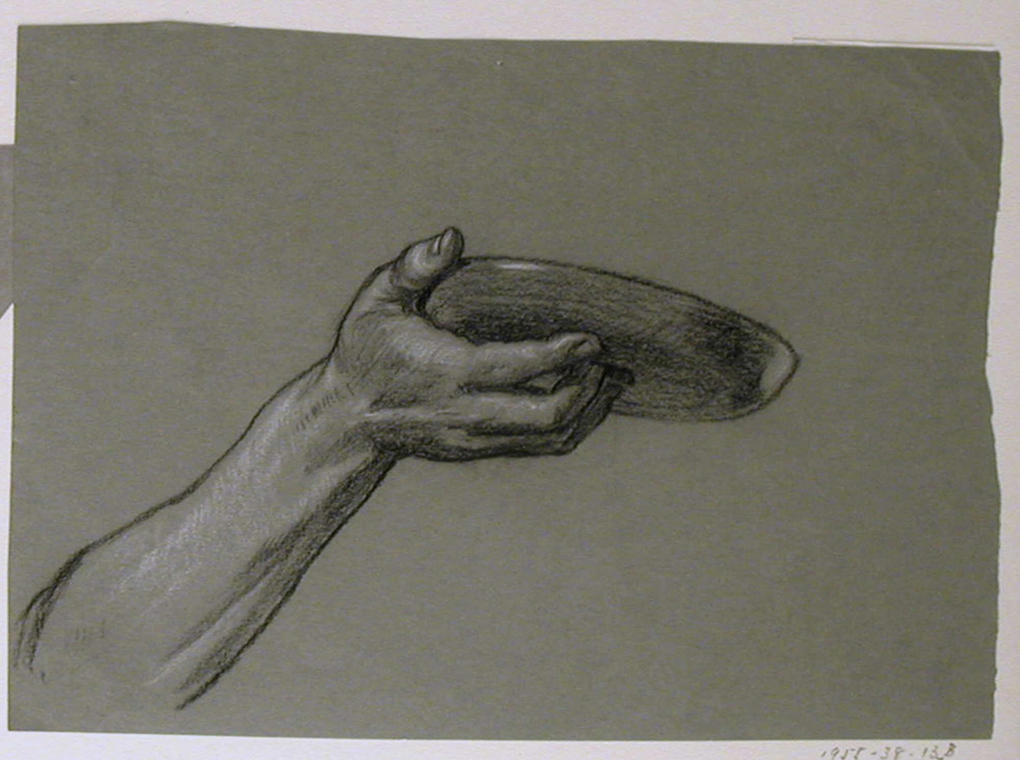 2000x1491 Drawing, Detail Of Forearm And Hand Holding Circular Object, Ca