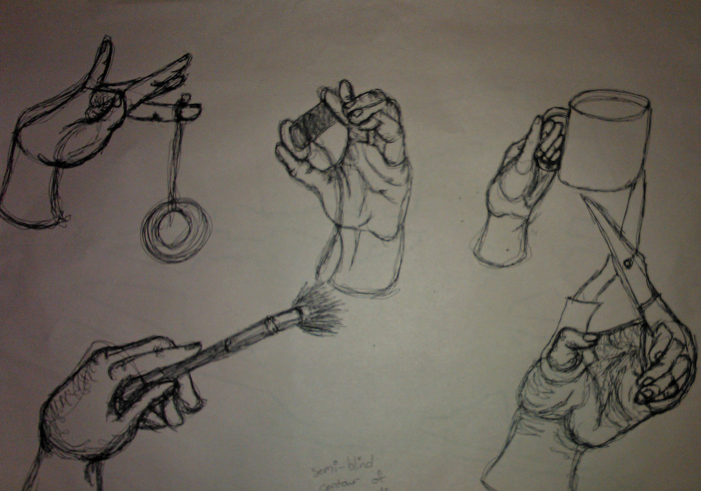 1024x717 Semi Blind Contour Of Hand Holding Objects By Alyxka Pro