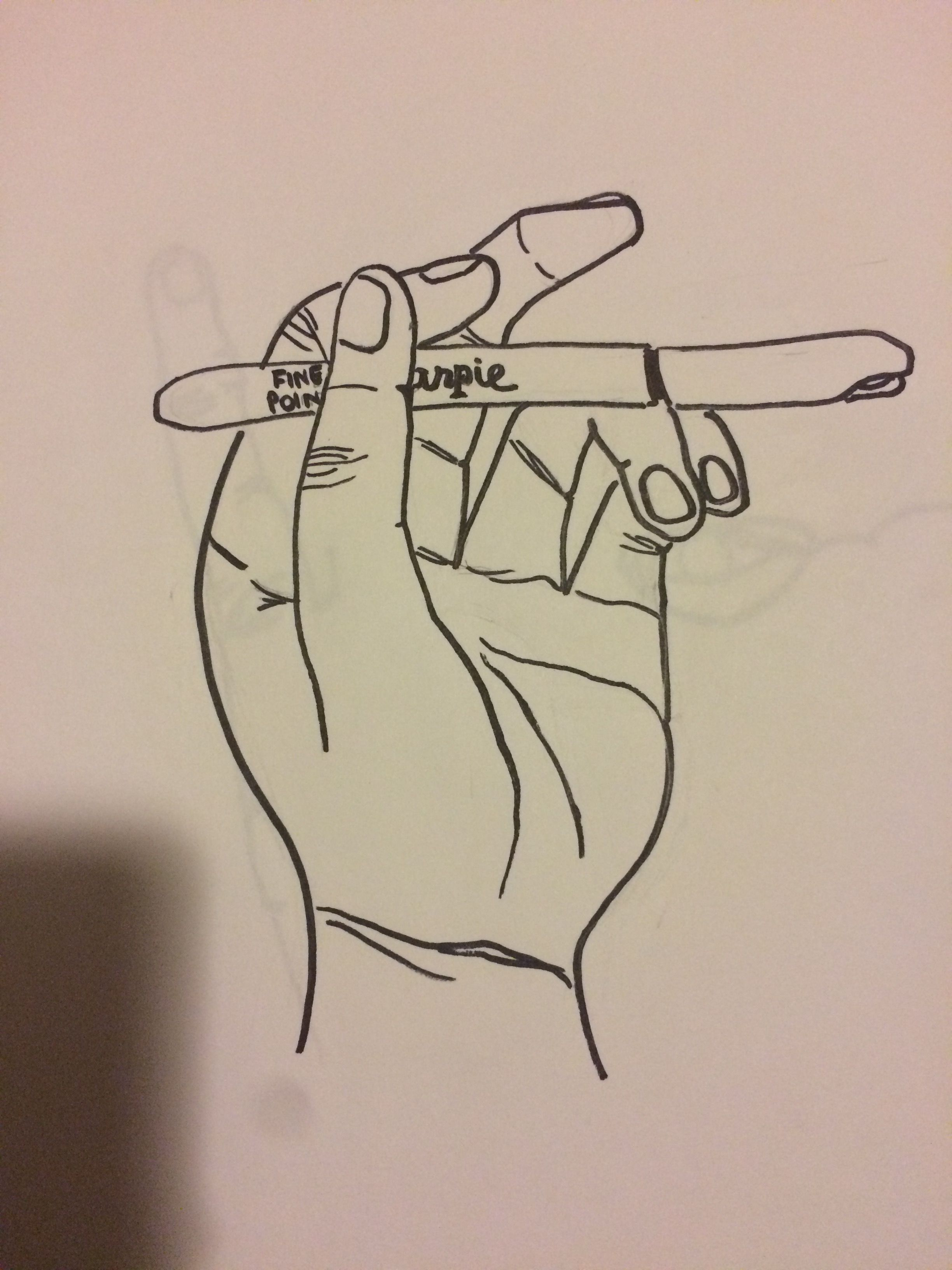 2448x3264 Hand Holding Object Contour Drawing My Sketchbook