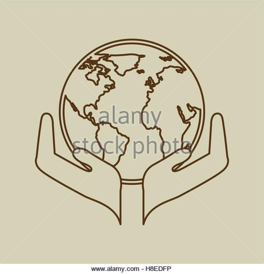 520x540 Hands Around The World Stock Vector Images