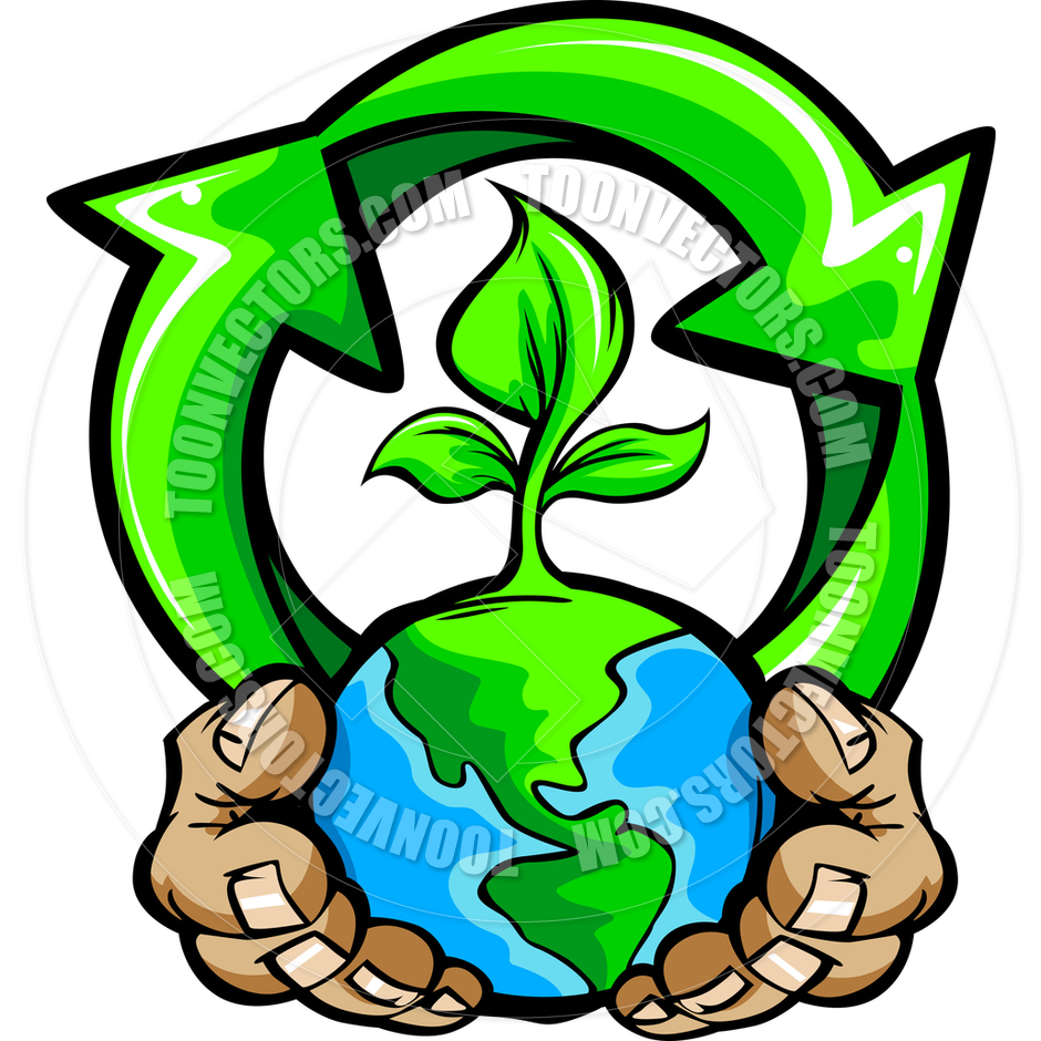 940x940 Hands Holding Planet Earth With Recycle Symbol Vector Cartoon By