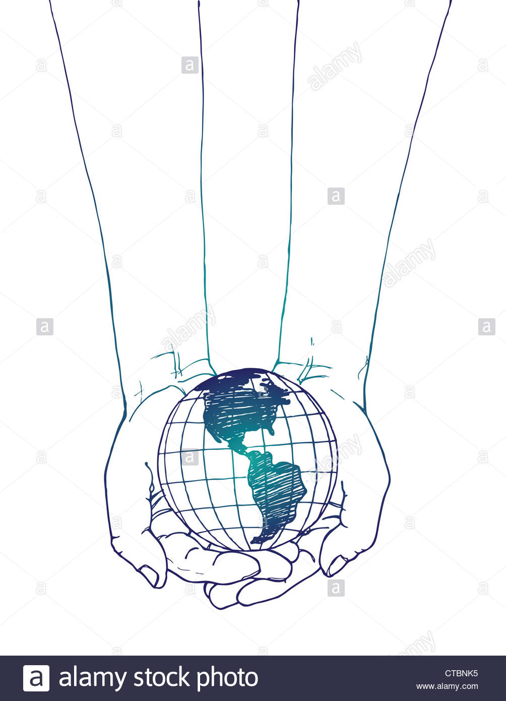 1004x1390 Line Drawing Of Hands Holding The Earth Stock Photo 49430953