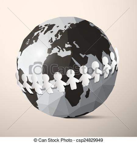 450x470 Paper People Holding Hands Around Globe
