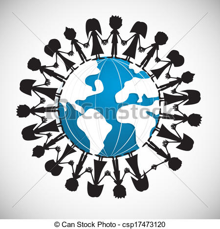 450x470 People Holding Hands Around Globe Vector Illustration