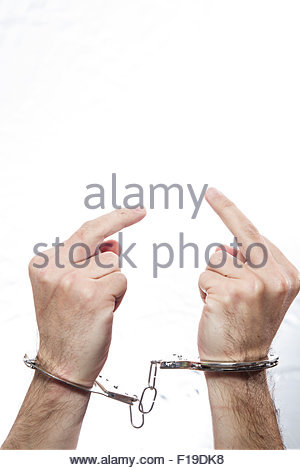 300x470 Hands With Handcuffs. Prison Riot Concept Stock Photo, Royalty