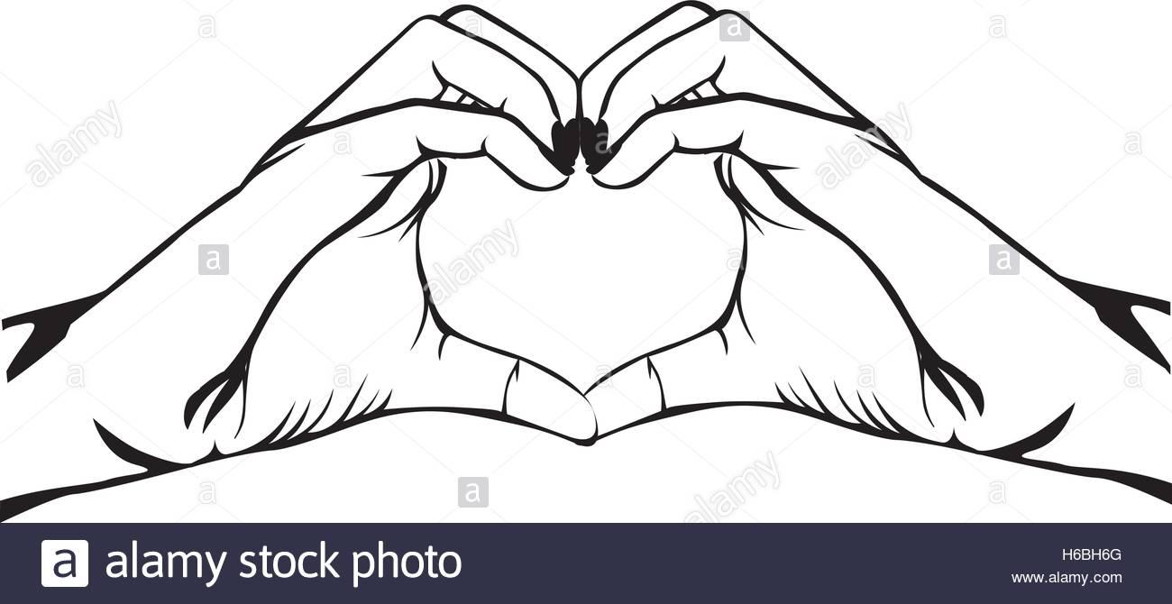 1300x670 Hands Making Heart Gesture Image Vector Illustration Design Stock