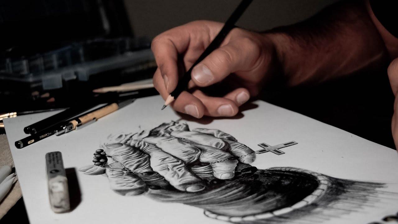 1280x720 Drawing Praying Old Hands