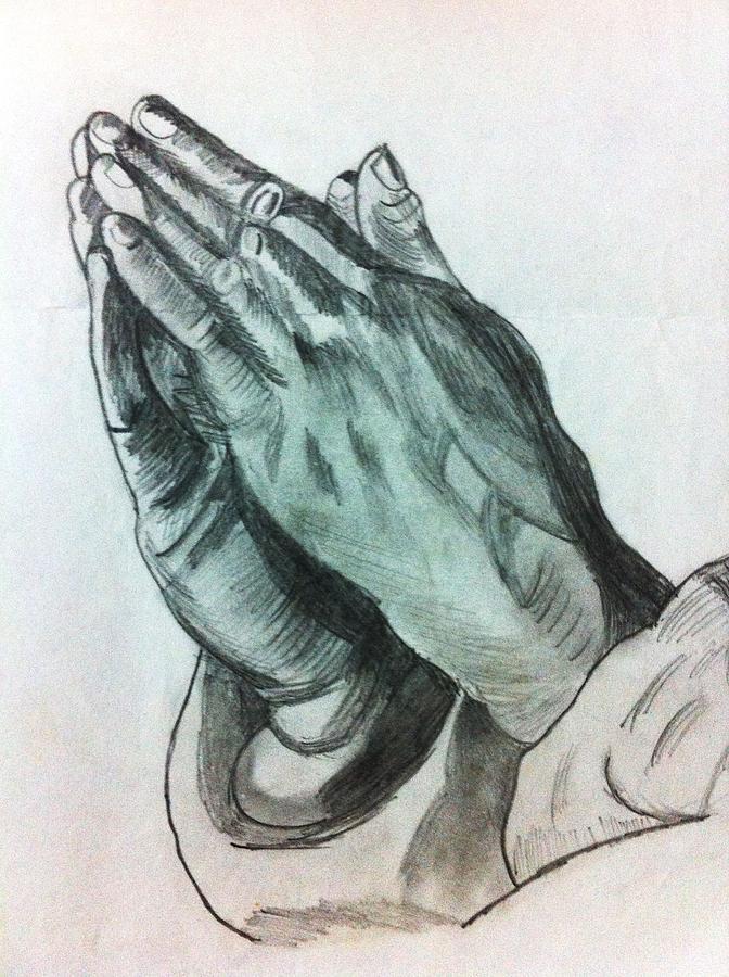 672x900 Praying Hands Drawing By Divya Engarsal
