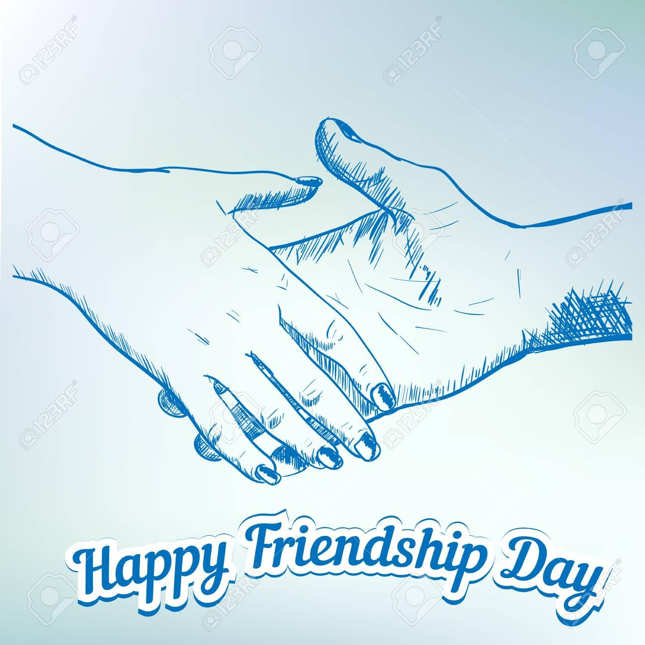 1300x1300 Hands Shaking Sketch Friendship Day Flat Vector Illustration