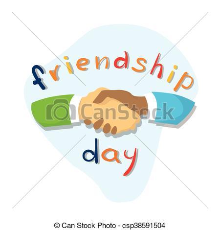 450x470 Hands Shaking Friendship Day Flat Vector Illustration Vector